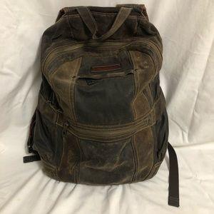 Andrew Marc Brown Suede Lindburgh Backpack